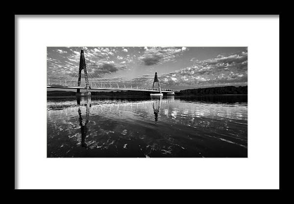 Black And White Framed Print featuring the photograph Between Sky River And Two Coasts by Janos Vajda - Photograph Art