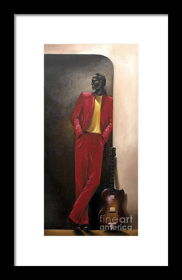 Black Fine Art Framed Print featuring the painting Between Takes by Clement Bryant
