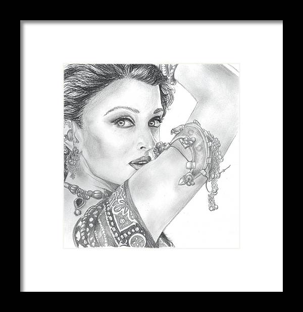 Aishwarya Rai Framed Print featuring the painting Beutiful Indian Actress by Rajesh Kalbhor