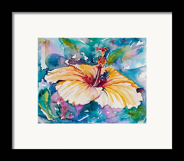 Hibiscus Framed Print featuring the painting Beyond Blue by Eve Wheeler