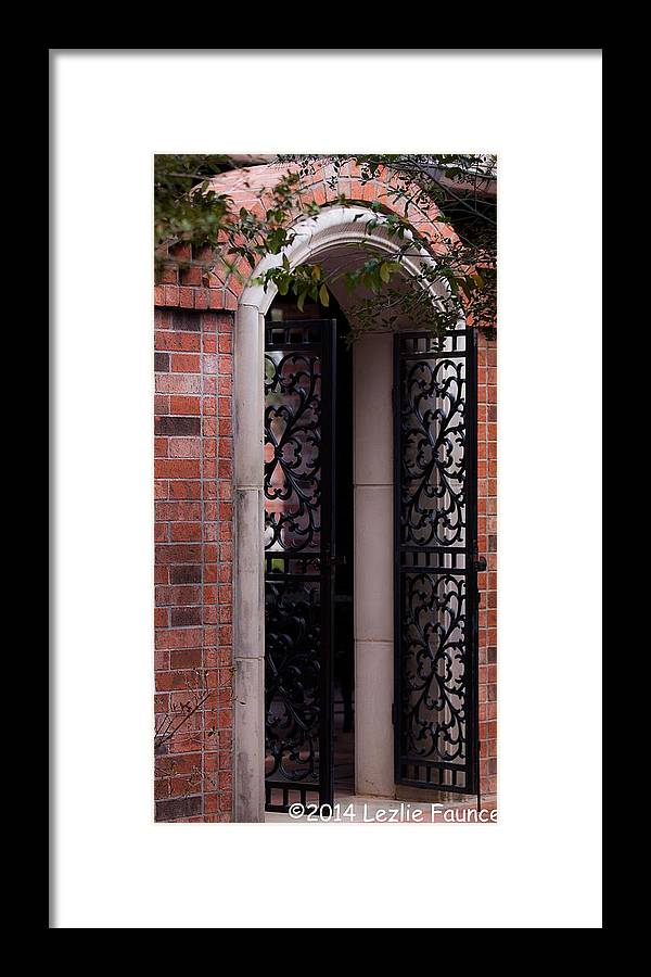 Iron Framed Print featuring the photograph Beyond The Open Gate by Lezlie Faunce