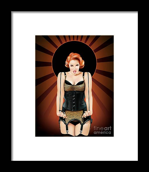 Curvy Framed Print featuring the digital art Bianca Bombshell by Brian Gibbs