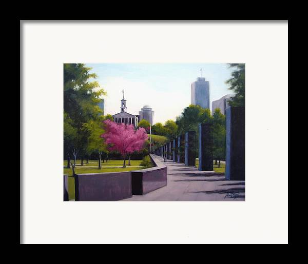 Capital Building In Nashville Tennessee Framed Print featuring the painting Bicentennial Capital Mall Park by Janet King