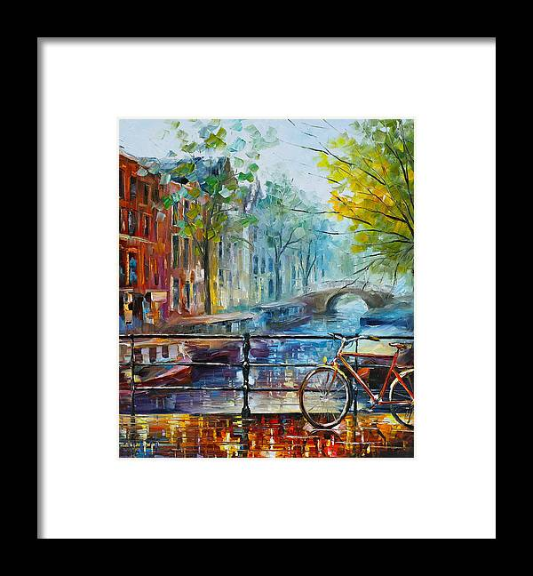 Amsterdam Framed Print featuring the painting Bicycle in Amsterdam by Leonid Afremov