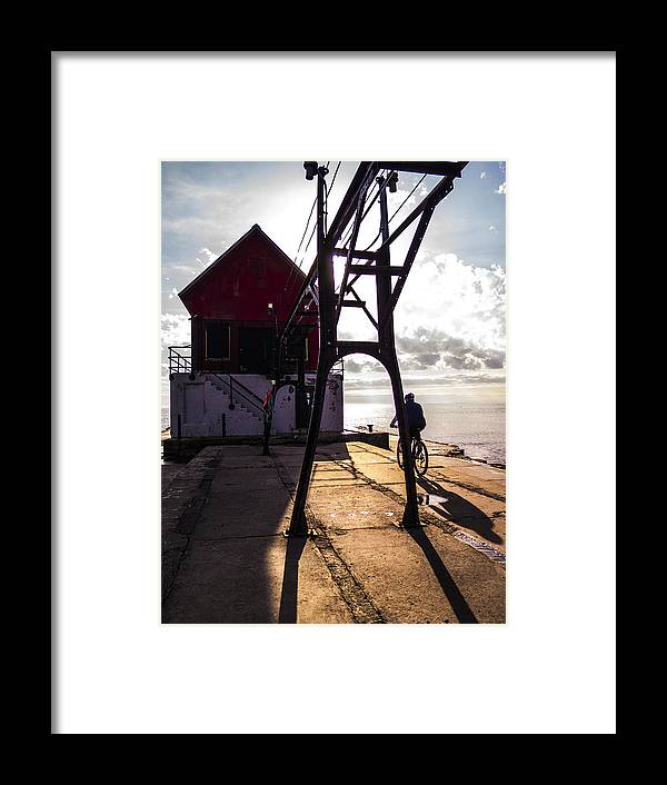 Grand Haven Framed Print featuring the photograph Bicycle On Grand Haven Pier by Kirsten Dykstra
