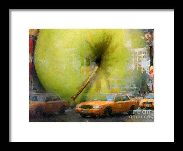New York Painting Framed Print featuring the painting Big Apple by Lutz Baar