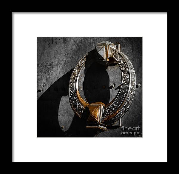 Aged Framed Print featuring the photograph Big Beautiful Doorknocker On Entrance Door Of Castel Sant'angelo by Inez Wijker