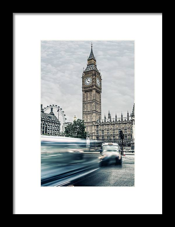 Gothic Style Framed Print featuring the photograph Big Ben At Dusk With Passing Traffic - by Alpamayophoto