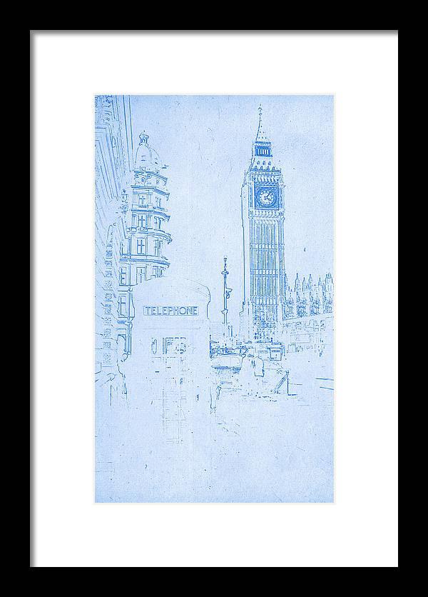 Big ben in london blueprint drawing framed print by motionage designs big ben in london blueprint drawing framed print featuring the digital art big ben in malvernweather Choice Image