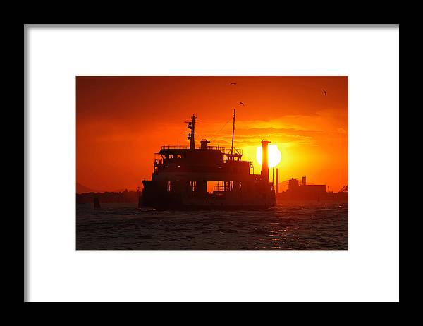 Architecture Framed Print featuring the photograph Big Boat At Sunset by Ioan Panaite