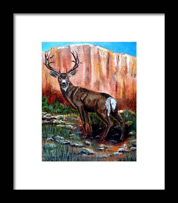 Deer. Buck Framed Print featuring the painting Big Buck by Joan Mace