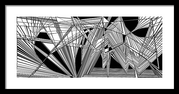Dynamic Black And White Framed Print featuring the painting Big Bunk Theory by Douglas Christian Larsen