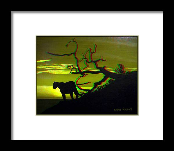 3d Framed Print featuring the photograph Big Cat Silhouette - Use Red-cyan 3d Glasses by Brian Wallace