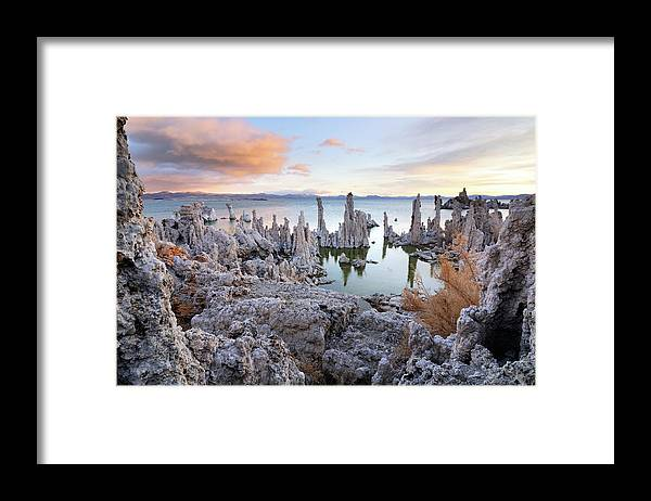 Water's Edge Framed Print featuring the photograph Big Cloud Above Tufas On Mono Lake by Rezus
