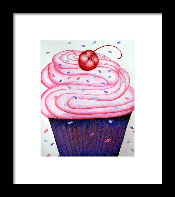 Cake Framed Print featuring the drawing Big Cupcake by Kori Vincent