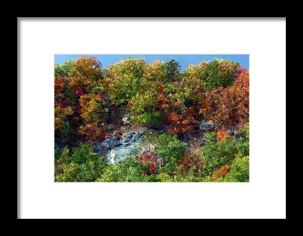 Kentucky Framed Print featuring the digital art Big Hill Cliffs In Autumn by George Ferrell