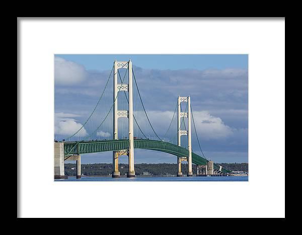 Bridge Framed Print featuring the photograph Big Mackinac Bridge 63 by John Brueske