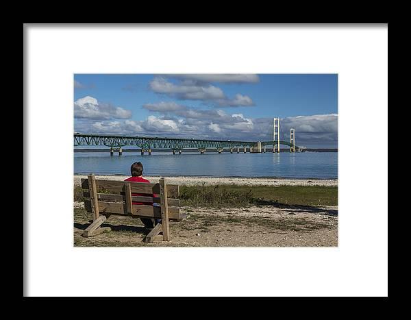 Bridge Framed Print featuring the photograph Big Mackinac Bridge 71 by John Brueske