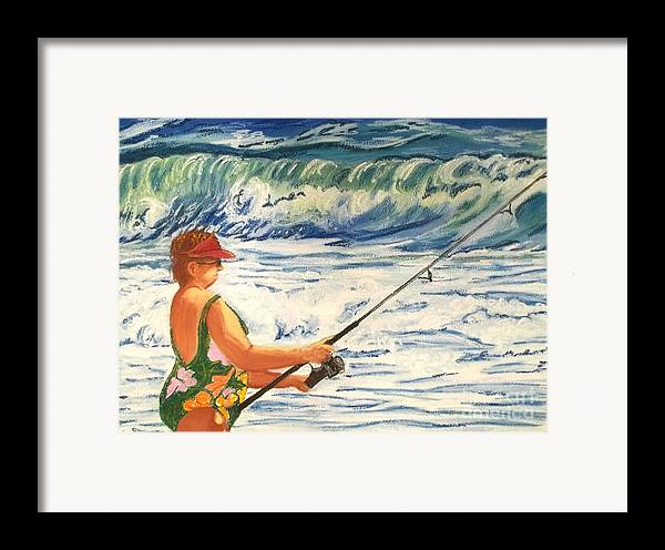 Figure Framed Print featuring the painting Big Momma Fishin' by Frank Giordano