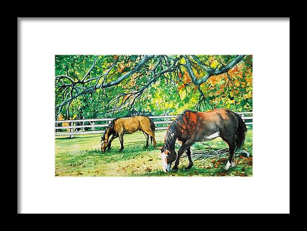 Horses Framed Print featuring the painting Big Red And Buck by Ron Lace