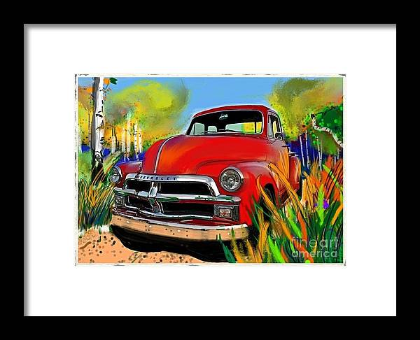 Chevy Framed Print featuring the painting Big Red Chevy by Craig Nelson