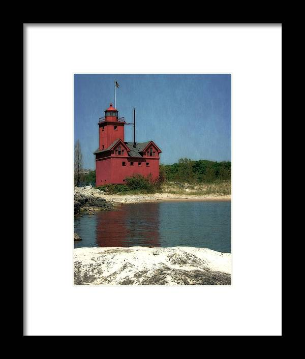 Michigan Framed Print featuring the photograph Big Red Holland Michigan Lighthouse by Michelle Calkins