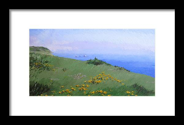 Landscape Framed Print featuring the painting Big Sur by Hunter Jay