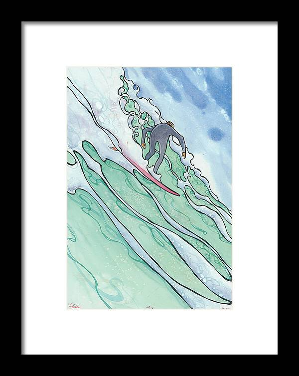 Fine Art Framed Print featuring the painting Big Wave 2 by Harry Holiday