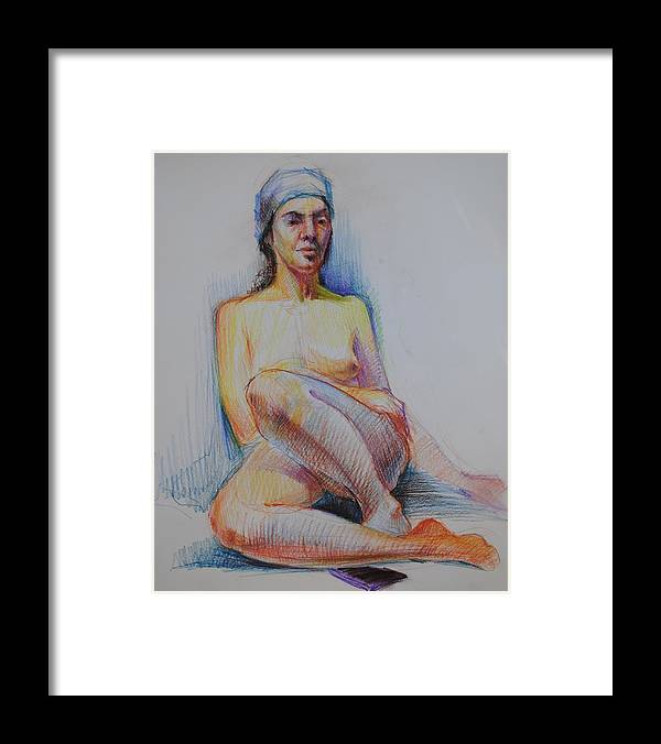 Female Nude Framed Print featuring the drawing Big Yellow Nude by Nika Zakharov