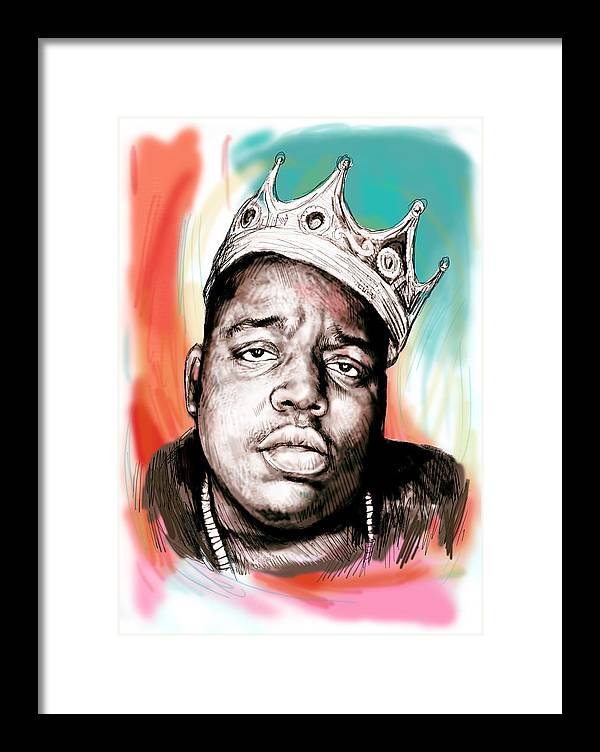 Biggie Smalls Colour Drawing Art Poster - Pop Art Framed Print featuring the painting Biggie smalls colour drawing art poster by Kim Wang