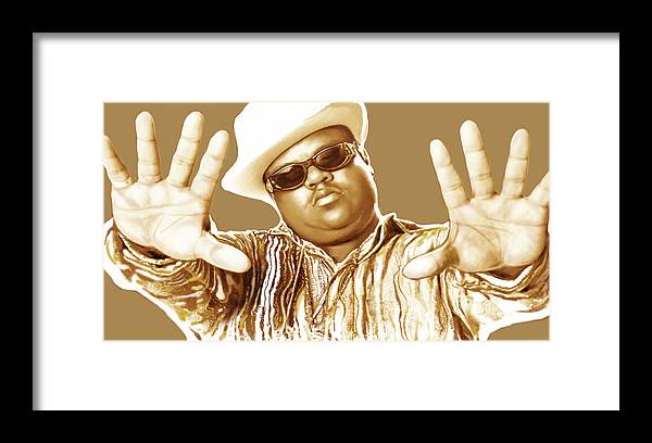 Biggie Smalls Stylised Pop Art Colour Drawing Poster. Portraits Framed Print featuring the drawing Biggie smalls stylised pop art colour drawing poster by Kim Wang
