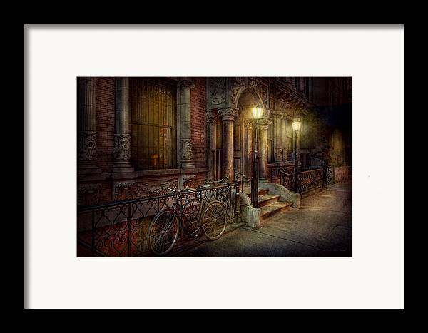 Savad Framed Print featuring the photograph Bike - Ny - Greenwich Village - In The Village by Mike Savad