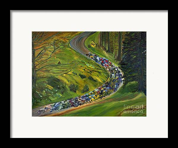 Lance Armstrong Framed Print featuring the painting Bike Race Belgium Arden Spring Classics by Gregory Allen Page