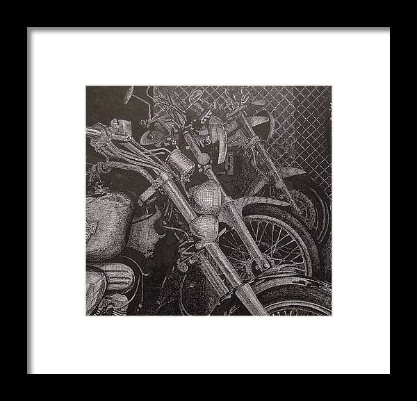 Motorcycles Framed Print featuring the drawing Bikes by Denis Gloudeman