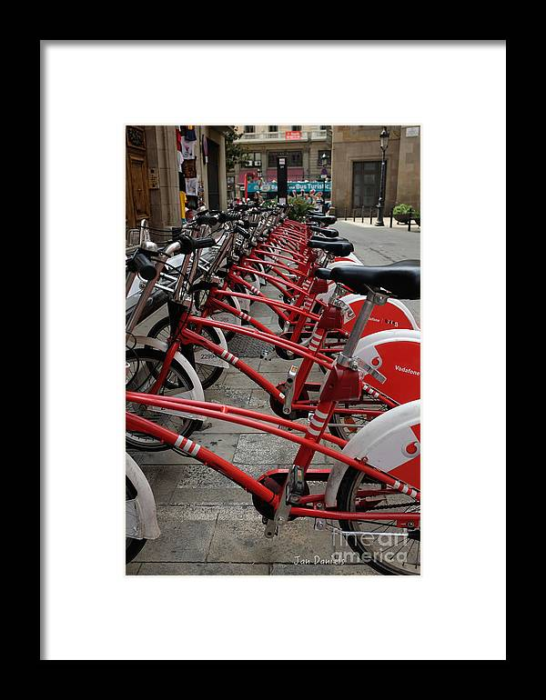 Bikes Framed Print featuring the photograph Bikes In Barcelona by Jan Daniels