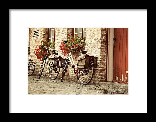 Belgium Framed Print featuring the photograph Bikes In The School Yard by Juli Scalzi