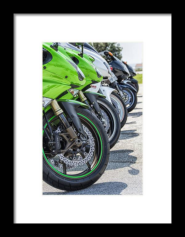 Bike Framed Print featuring the photograph Bikes Lined by Paulo Goncalves
