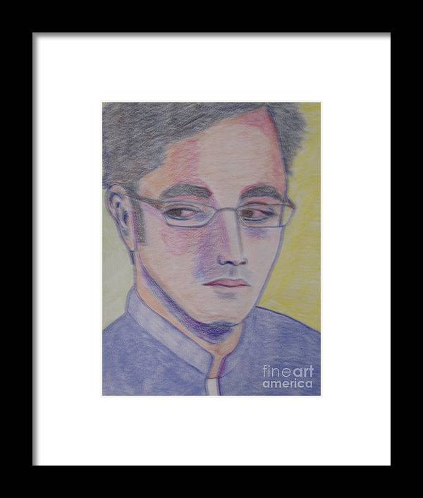 Portrait Framed Print featuring the pastel Bilawal Bhutto by Manuel Matas