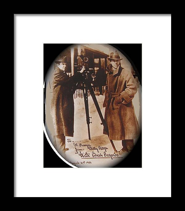 Billy Bitzer D.w. Griffith Pathe Camera Way Down East Sepia Toned Vignetted Color Added Autographed Snow Orson Welles Jean Renoir Framed Print featuring the photograph Billy Bitzer D.w. Griffith Pathe Camera Way Down East 1920-2013 by David Lee Guss