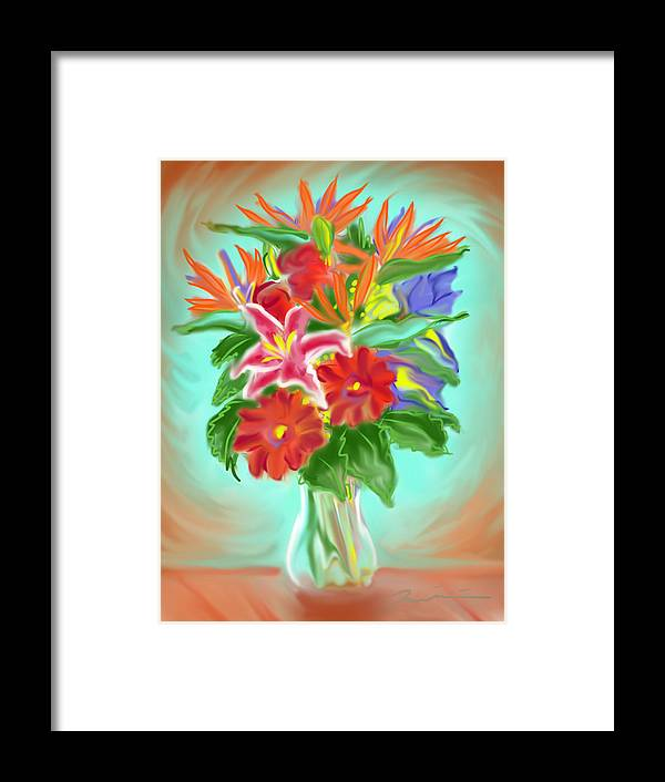 Flowers Framed Print featuring the painting Billys Flowers by Jean Pacheco Ravinski