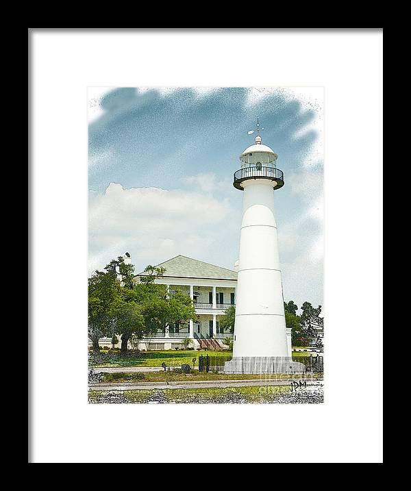Biloxi Lighthouse Sketch Photo Framed Print By Joan Mccool