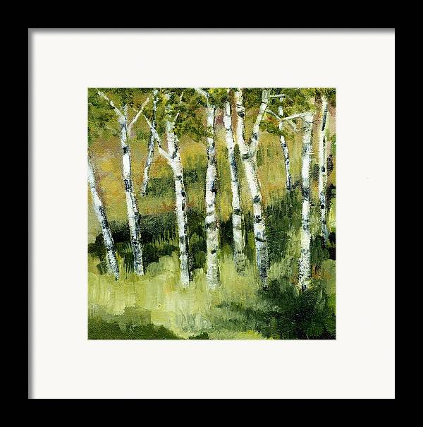 Trees Framed Print featuring the painting Birches On A Hill by Michelle Calkins