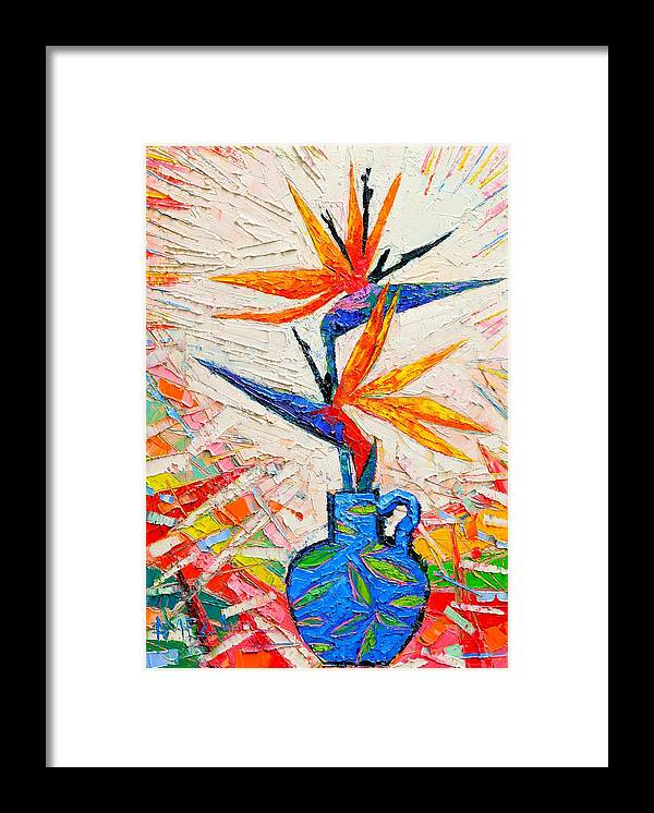 Bird Framed Print featuring the painting Bird Of Paradise Flowers by Ana Maria Edulescu
