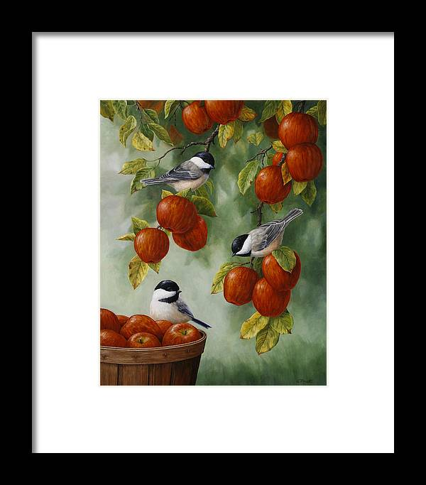 Birds Framed Print featuring the painting Bird Painting - Apple Harvest Chickadees by Crista Forest