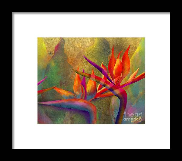 Birds Of Paradise Framed Print featuring the painting Birds in the Mist by Francine Dufour Jones