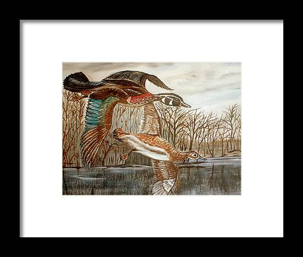 Birds Landing Water Landscape Framed Print featuring the painting Birds Landing by Kenneth LePoidevin
