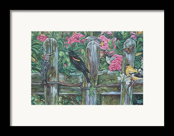 Birds Framed Print featuring the painting Birds On A Fence by Diann Baggett