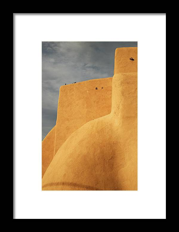 Built Structure Framed Print featuring the photograph Birds Perched On A Yellow Building by Win-initiative