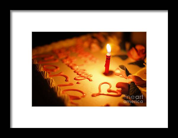Cake Framed Print featuring the photograph Birthday Cake With Candle by Konstantin Sutyagin