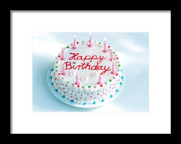 Celebration Framed Print Featuring The Photograph Birthday Cake With Candles Lit By Maximilian Stock Ltd